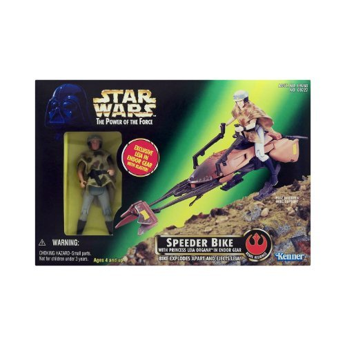 Star Wars - Power of the Force - Speeder Bike with Princess Leia Organa in Endor -