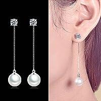 Sumanee Long Silver Plated Ear Studs Womens Earrings Pearl Rhinestone Tassel Chain