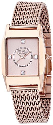 Ted Baker Women's TE4088 Modern Triple Rose Gold Rectangle Analog Bracelet Watch