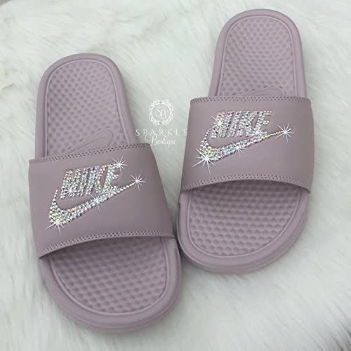 c8020529fff5 ... coupon for swarovski nike slides rose color sandals all sizes custom  nike bedazzled slip on shoes