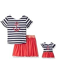 Dollie & Me Girls 2 Piece Skirt Set Knit Screen Print Top Skirt