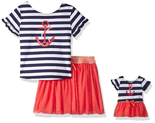 Dollie & Me Big Girls' 2 Piece Set Knit Screen Print Top with Skirt, Coral/Multi, 7 -