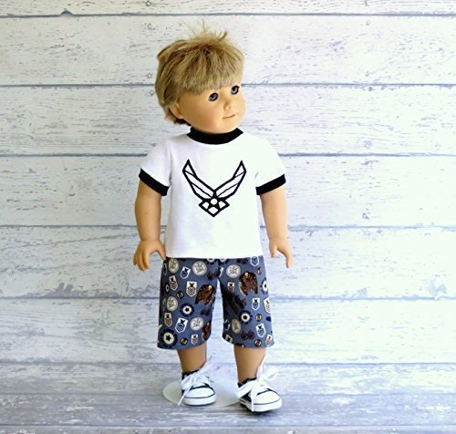Military Doll T-Shirt and Board Shorts for 18 inch Dolls such as Our Generation, American Girl