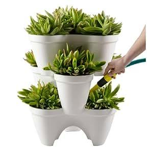 Keter Ivy Planter Stackable 1-Step Watering Reservoir Drain, Set of 3