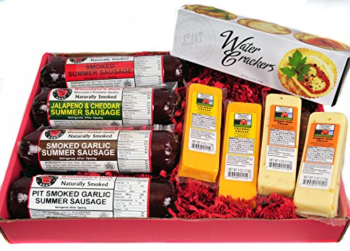 Mancave-Ultimate-Mens-Cheese-Sausage-Gift-Basket-features-Summer-Sausages-100-Wisconsin-Cheeses-and-Crackers-Great-for-gifts