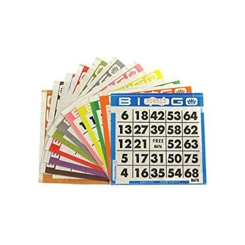 United Novelty 1 on Bingo Pushout Game Cards- Triple Pack Value- 500 Blue-500 Yellow- 500 Purple- 4 Inch Bingo Game Cards