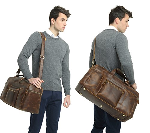 Polare 23'' Duffle Retro Thick Cowhide Leather Weekender Travel Duffel luggage Bag by Polare (Image #1)