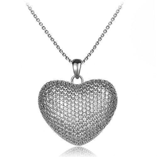 (HONGYE Fashion Three-dimensional Love Heart Necklace Bright Diamond Pendant Crystal Necklaces)