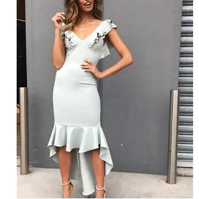 Damen Ärmellos Ballkleid Kleider Volant Party Knielang Abendkleid Strand Mode FL