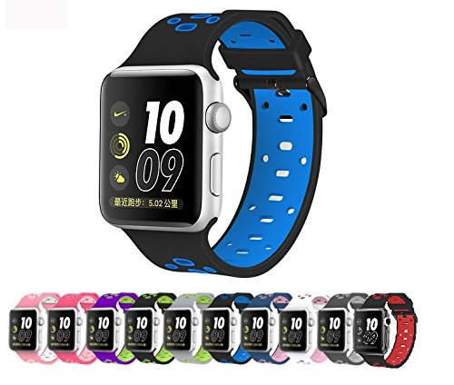Apple Watch Silicone Replacement Band, Sport Edition by Pantheon,Strap fits the 38mm or 42mm Apple Watch 1, 2, 3 and Nike edition - Square Hole (42MM) (Band Wrist Rubber Watch)