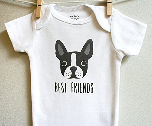 Terrier Body (Best Friends Boston Terrier Boy Girl Baby Bodysuit Romper Short Long Sleeve Sizes Newborn 3 6 9 12 18 24 Months)
