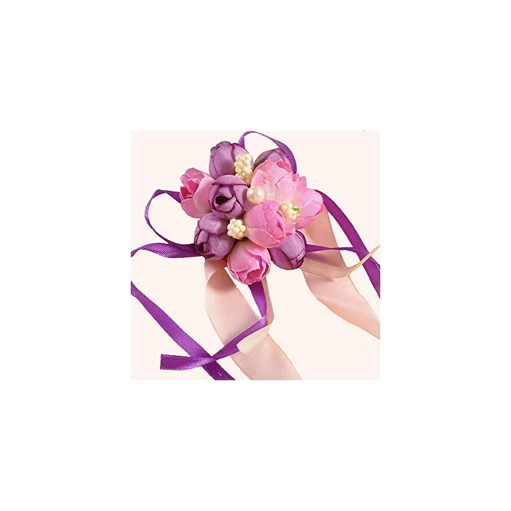 Wedding-Wrist-Corsage-4PCS-Girl-Bridesmaid-Party-Prom-Hand-Flowers-for-Party-Engagement-Decor-Birthday-Party-Purple-and-Pink