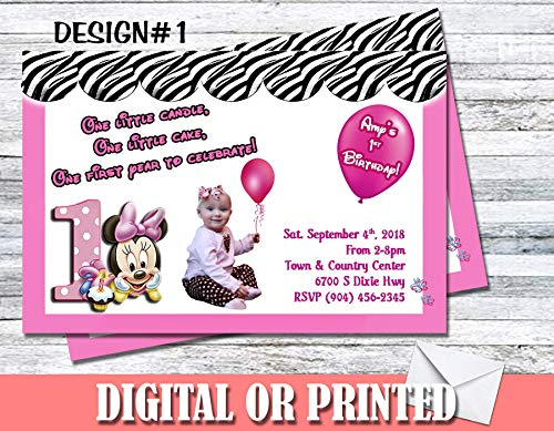 Minnie Mouse Zebra Pattern Personalized Birthday Invitations More Designs -
