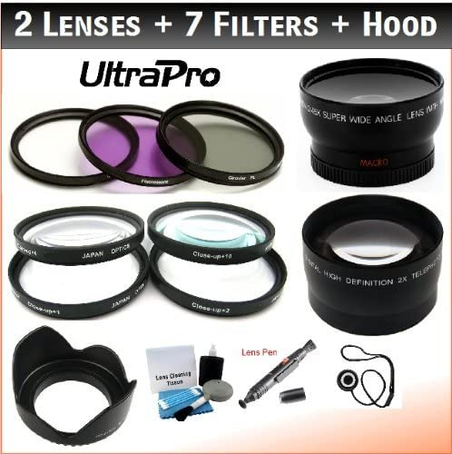 CPL 2X Telephoto 10 Filters Filter Bundle: UV 4 FL-D 0.45x HD Wide Angle w//Macro 2 Lens Hood f//Select Samsung Digital Cameras UltraPro Accessory Set Included 40.5mm Deluxe Lens 1