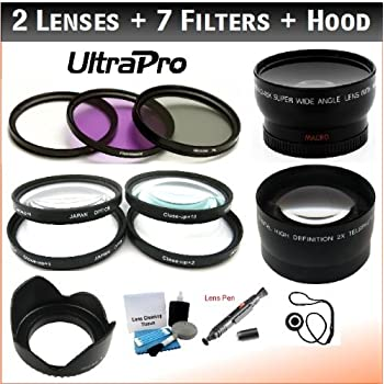 FL-D 1 0.45x HD Wide Angle Lens w//Macro for The Sony FDR-AX53 Camera CPL 2X Telephoto Lens Filter Bundle: UV 2 Bundle Includes UltraPro Accessory Set 10 Filters 4 55mm Deluxe Lens