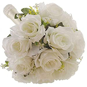 Koolee 1 x Bouquet Crystal Roses Simulation Flower Bridesmaid Wedding Bouquet Bridal Artificial Silk Flowers With Rhinestones 31x22cm (A) 31