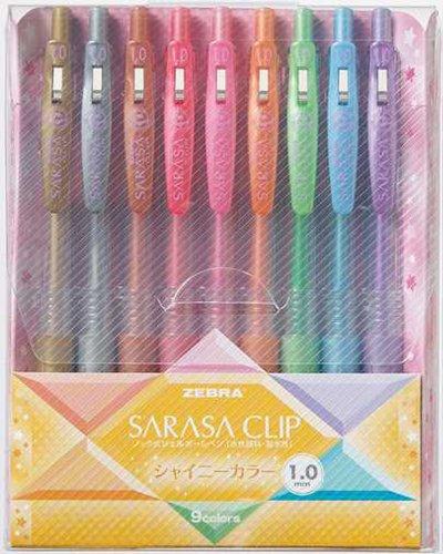 Zebra Sarasa Push Clip Gel Ink Pen - Metallic Colors - 1.0 mm - 9 Color Set