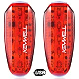 KEYWELL USB Rechargeable LED Safety Lights (2 Pack) – Clip on Strobe Running Lights for Runners, Joggers,Walkers,Kids,Dogs,Bike Tail Lights – High Visibility Accessories for Reflective Gear (Red)