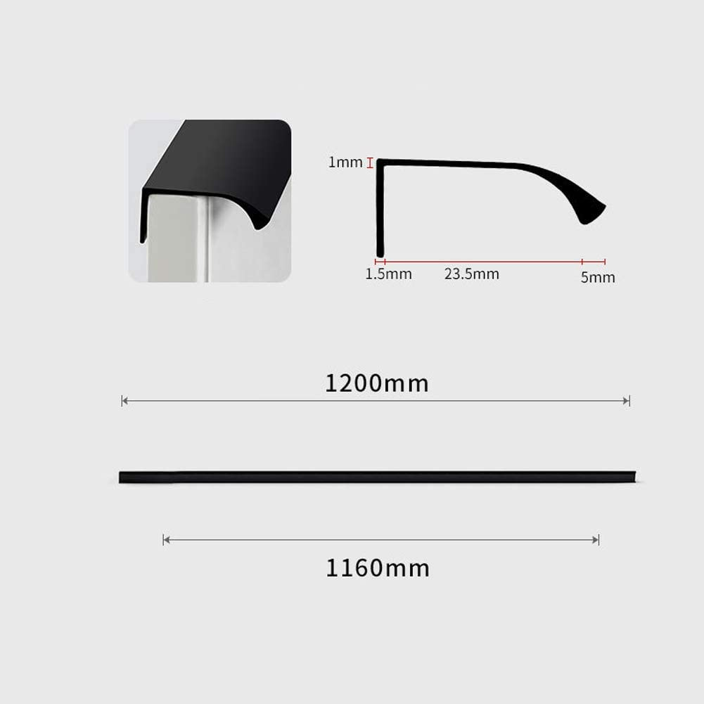 Invisible handle Extra long door handle Kitchen hardware accessories Modern minimalist style Bedroom drawer handle formaldehyde-free 10 Pack-black-474 mm