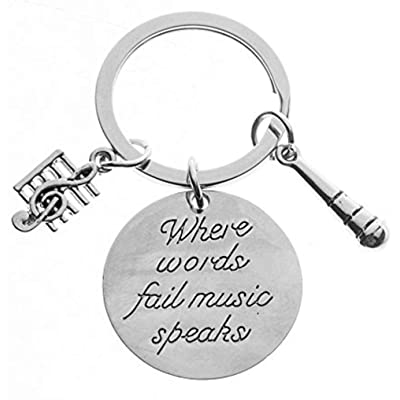 Infinity Collection Music Keychain Gift - Musically Keychain- Treble Clef Jewelry - Singer Microphone Keychain, Perfect Music Lover Gifts: Jewelry