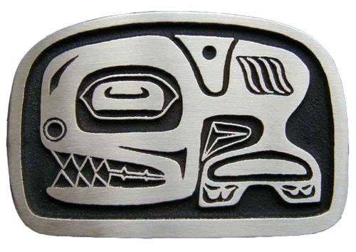 (Tlingit Orca Bronze Totem Novelty Belt Buckle )