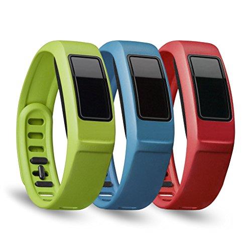 Dokpav® 3pcs Garmin Vivofit 2 Uhrenbänder Ersatzarmband mit Haken für Garmin Vivofit 2 Aktivität Tracker (L) - Rot + Blau + Grün