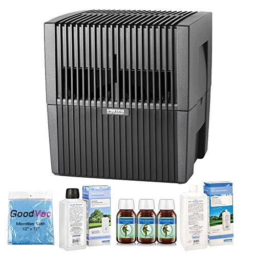 Venta LW25 AirWasher Humidifier and Purifier in Charcoal - Humidifies up to 400 Square Feet - Eucalyptus, 35oz Additive and Cleaner by Venta