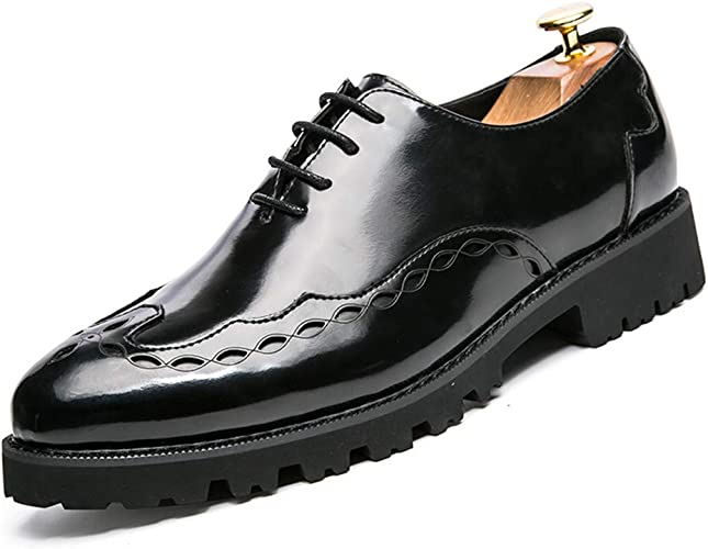 2019 Mens Oxfords Mens Casual Comfortable Fashion Oxford Breathable Classic Carved Lace-up Brogue Shoes