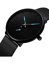 Men's Watch Unisex Minimalist Watch Waterproof Watch Classic Gift Mesh with Blue Pointer