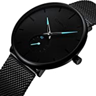 [Sponsored]Men's Watch Unisex Minimalist Watch Waterproof Watch Classic Gift Mesh with Blue Pointer