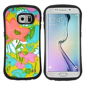 """Hypernova Slim Fit Dual Barniz Protector Caso Case Funda Para Samsung Galaxy S6 EDGE [Patrón de Arte Textil madre de la mamá de Verano""""]"""
