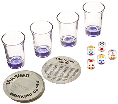 Halloween Drinking Games (Trashed - Assorted Drinking Games (Includes: 4 Shot Glasses & 5 Dice) Party Accessory  (1 count) (1/Pkg))