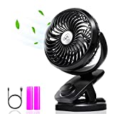 Clip on Fan, Battery Operated Clip on Portable Fan with 4400mAh Power Bank, Rechargeable Battery Personal Cooling Fan for Baby Stroller, 6-32 Hours Working Time, Stepless Regulation, Strong Airflow