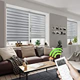 Yoolax Motorized Day and Night Window Shades, Horizontal Zebra Dual Roller Shades Blinds Wireless & Rechargeable Remote Control Shades for Home Office Customized (Luxury Grey)