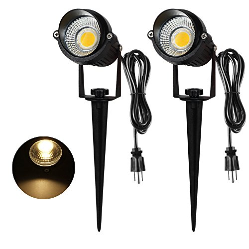 5W LED Landscape Spotlight, T-SUNRISE Decorative Lamp Lighting Landscape Garden Wall Yard Path Light with Stand, 1.8M US Plug, Warm White 3000K,Pack of - Spotlight Landscape
