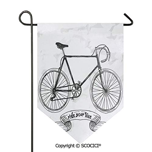 SCOCICI Easy Clean Durable Charming 28x40in Garden Flag Ride Your Bike Lettering with Nostalgic Mountain Bike Hand Drawn Stylized Sketchy,Black White Double Sided Printed,Flag Pole NOT Included