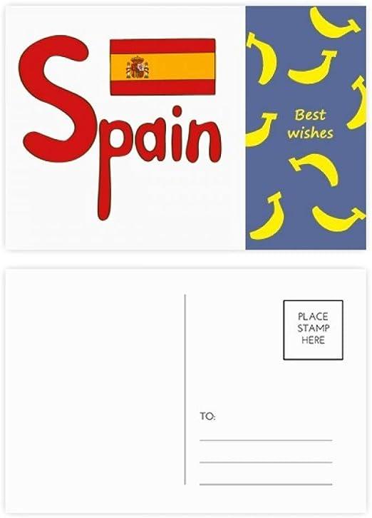 Bandera nacional de España, diseño de banana, tarjeta de agradecimiento, 20 unidades: Amazon.es: Oficina y papelería