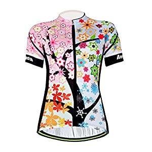 Aogda Cycling Jersey Women Bike Shirts Biking Bib Pants Ladies Cycling Clothing (Jerseys 1, XL)