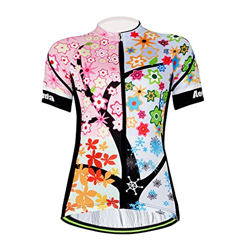 Aogda Cycling Jersey Women Bike Shirts Biking Bib Pants Ladies Cycling Clothing (Jerseys 1, L) - Clothing Female Cycling