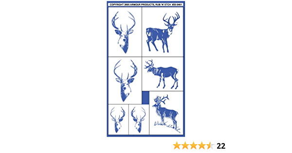Armour Products Etch Rub N Etch Stencil 5-Inch by 8-Inch Deer Heads