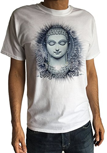 Herren Körper, Geist Seele Chakra Meditation Buddha Indien Zen Hobo-Stil T-shirt-Peace C 1-13