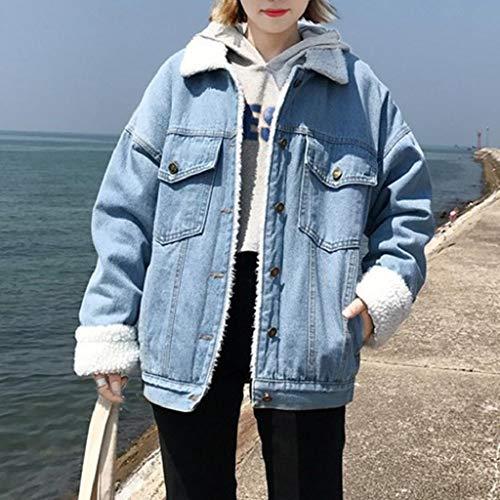 Corta Giacca Colletto Blu ❤ Casual Outwear Donna Cappotto In Pelliccia Vicgrey Down Jeans Donna Retrò Finta Caldo Bv4TnWWc