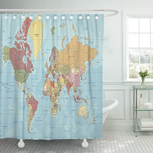 (Emvency Shower Curtain Blue Asia Detailed Political World Map in Mercator Projection Clearly Labeled Separated Layers Atlas Waterproof Polyester Fabric 72 x 72 inches Set with Hooks)