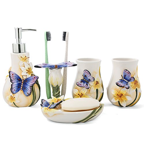 FORLONG Ceramic Bathroom Accessory Set Dancing Butterfly Ceramic 5 Pieces Set,Including Toothbrush Holders,2 Gargle Tooth-Brushing Cups,Soap Dishes,Soap & Lotion Dispenser -