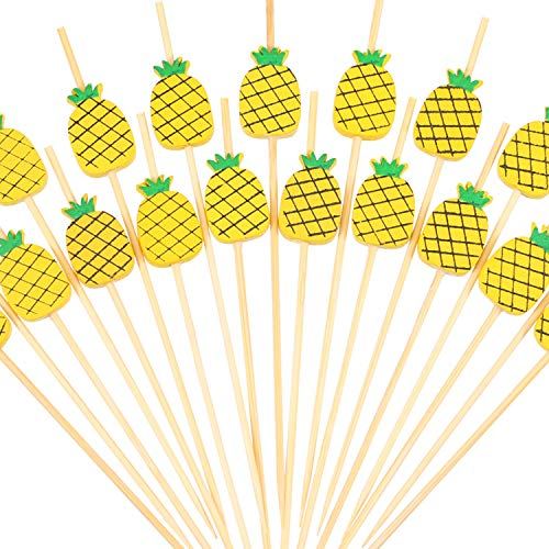 SATINIOR 200 Pieces 4.7 Inch Pineapple Cocktail Picks Fruit Sticks Bamboo with Wooden Pineapple for Hawaiian Tropical Luau Party Supplies ()
