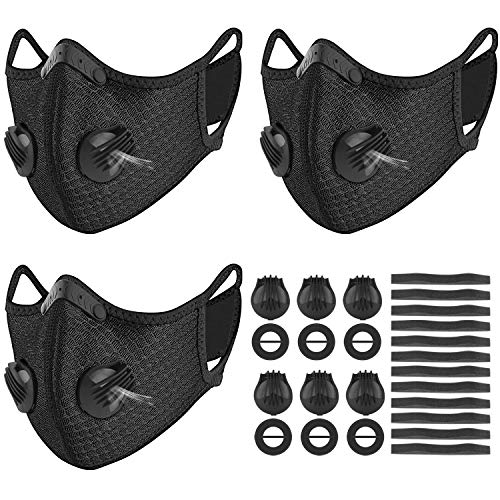 kungfuren 3 Sets Sports Facial Masks with Activated Carbon Filter, Cycling Mask with 6 Breathing Valve and 12 Soft Foam Padding for Walking Running Cycling