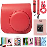 CAIUL Compatible Mini 8 Camera Case Bundle with Album, Filters & Other Accessories for Fujifilm Instax Mini 9 8 8+ (Raspberry, 7 Items)