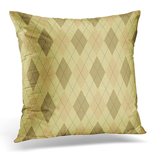 UPOOS Throw Pillow Cover Argyle Plaid Traditional Diamond Check in Palette of Dark Ecru Brown Orange and Pale Yellow with Black Decorative Pillow Case Home Decor Square 20x20 Inches Pillowcase (Ecru Gingham Checks)