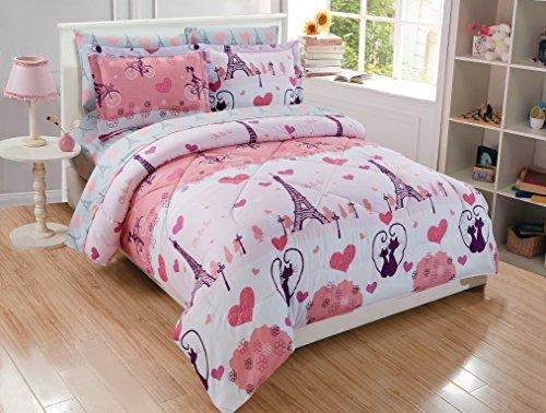 Micasa Kids Comforter Set Paris Eiffel Pink Print Design (Full) from Micasa