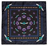 Simon Carter Mens Scarab and Orchid Silk Pocket Square - Navy